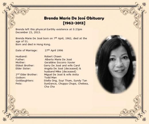 Brenda Marie De José Obituary-Tribute-Condolences Page