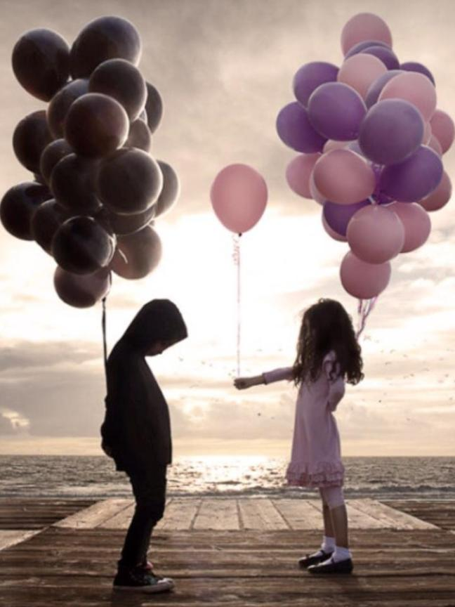 Sharing Bright Pink Balloon