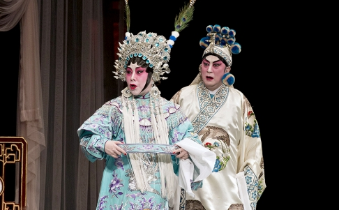 Cantonese opera at the West Kowloon Bamboo Theatre. Photo: AFP