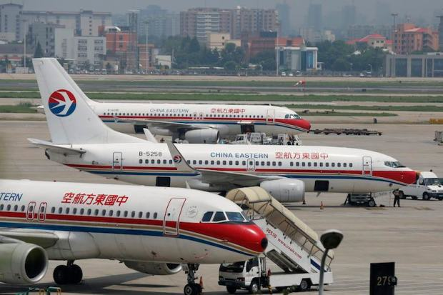 China Eastern Airlines planes are seen on the tarmac at Hongqiao International Airport in Shanghai