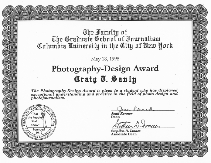 Craig's Photography Design Award