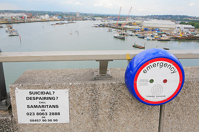 Samaritans notice and intercom on top of the Itchen Bridge in Southampton