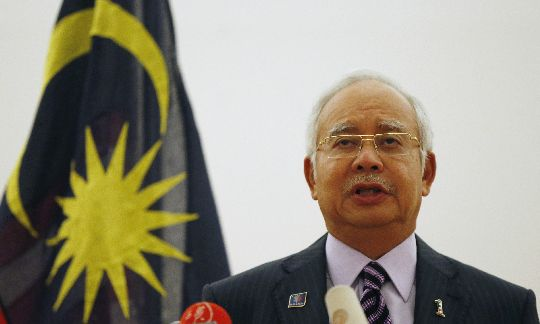 Malaysian Prime Minister Najib Razak speaks at a news conference  in Kuala Lumpur