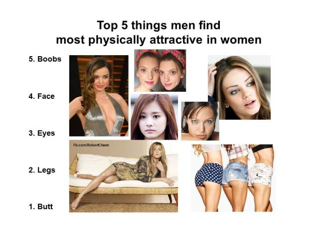 Top 5 things men find most physically attractive in women