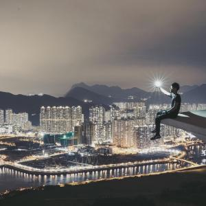 --ONE TIME USE ONLY--  --NO ARCHIVES--  This handout image shows an instagram image of a man holding a light with a background of Hong Kong,  taken by Kelvin Tirta.  07APR15   [18JUN2015 LEAD FEATURE 2 48HRs ]