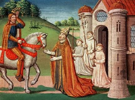 The Frankish king Charlemagne was a devout Catholic who maintained a close relationship with the papacy throughout his life. In 772, when Pope Adrian I was threatened by invaders, the king rushed to Rome to provide assistance. Shown here, the pope asks Charlemagne for help at a meeting near Rome.