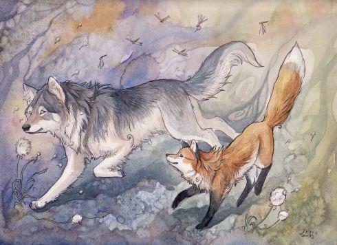 Wolf & Fox. Dandelion Delights by Kitsune-Seven