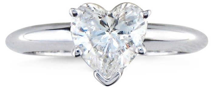 1 Ct Heart-shaped Diamond Solitaire Ring, White Gold