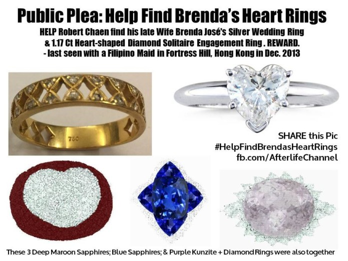 Public Plea - Help Find Brenda's Heart Rings