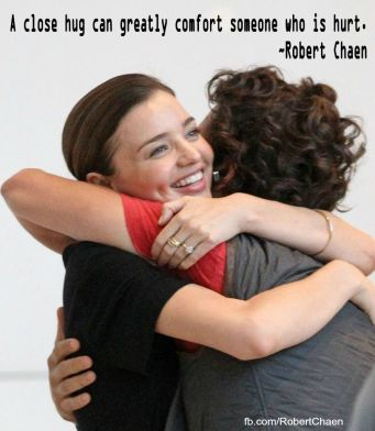 A close hug can greatly comfort someone who is hurt.