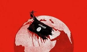 ISIS Map Bloody Flag