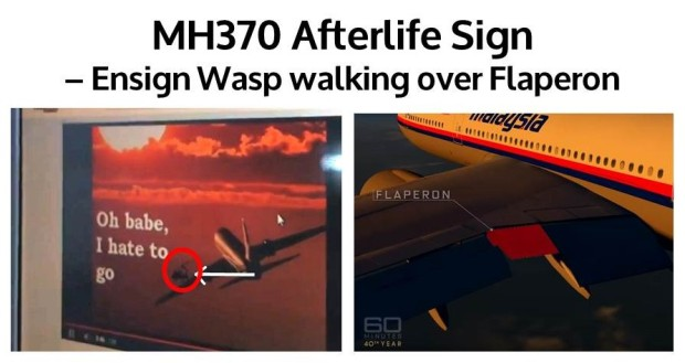 MH370 Ensign Wasp walking over Flaperon