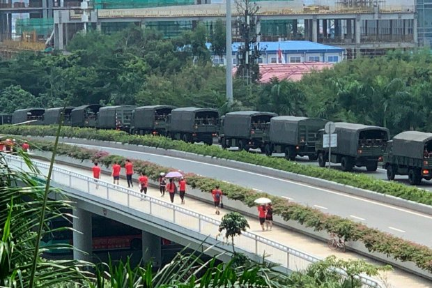 1. Footage of trucks from the paramilitary People's Armed Police in Shenzhen has circulated online
