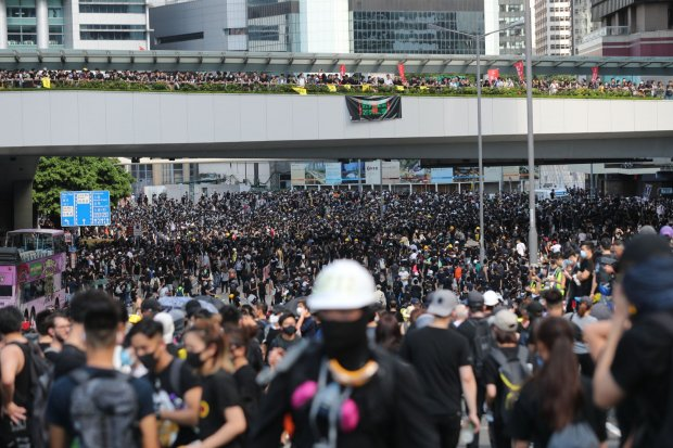 1. Protesters on Harcourt Road Admiralty by Sam Tsang