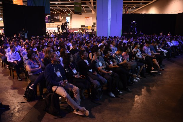 10 July 2019; Attendees at MoneyConf Stage during day two of RISE 2019 at the Hong Kong Convention and Exhibition Centre in Hong Kong. Photo by David Fitzgerald.jpg