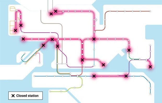 9. Closed MTR Stations marked in pink