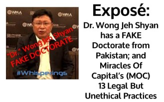 Dr Wong has a Fake Doctorate