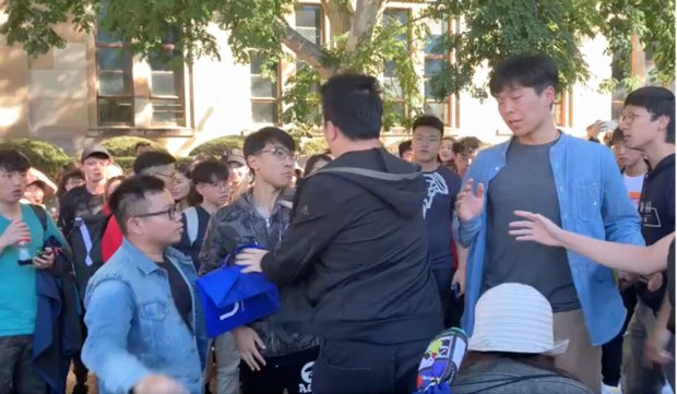 Hong Kong and mainland students clash at a pro-democracy protest at the University of Queensland in Australia..jpg